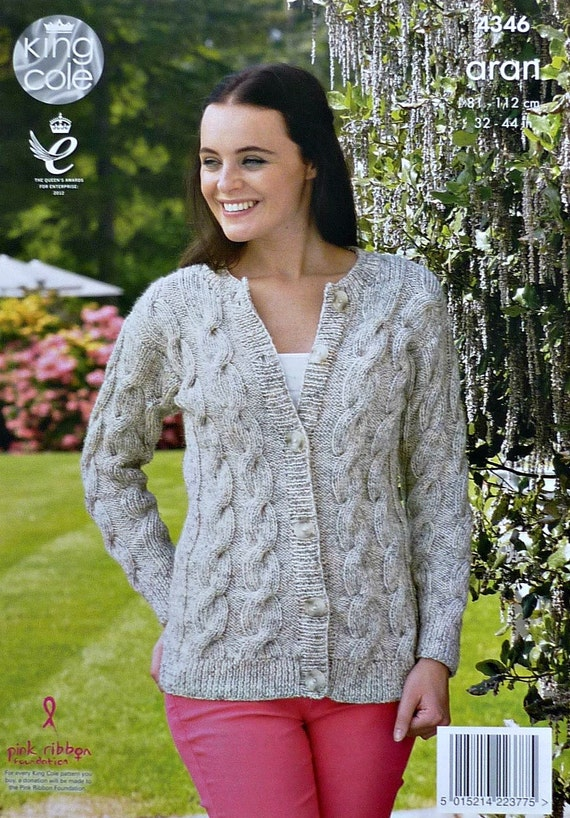 Womens Knitting Pattern K4346 Ladies Long Sleeve Round Neck Cable