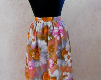 Vintage High Waist Skirt, 1980s Gathered Skirt, Floral Skirt, Summer Watercolor Print Waist 26-27
