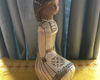 Vintage TEKT Russian Pottery Girl