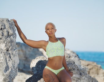Sydney High Neck Halter Bikini Top in Neon Breeze