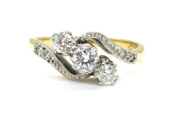 Art Deco Diamond trilogy ring 1930s ~ 18ct Platinum diamond ring ~ Vintage engagement ring ~ 3 three stone Diamond bypass ring