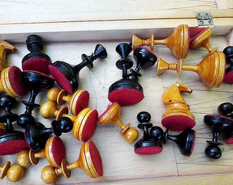 Retro USSR 1960 made chess set / wooden 60s soviet chess / old russian vintage chess game