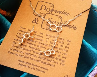 Serotonin and Dopamine Molecule Science Chemistry Earrings & Necklace Set-College Graduation Gift-Sterling Earwires-Hand Made Science Gift