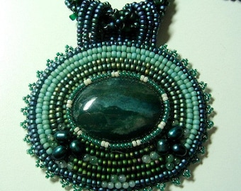 Northern Lights Bead Embroidery Jasper Focal Necklace