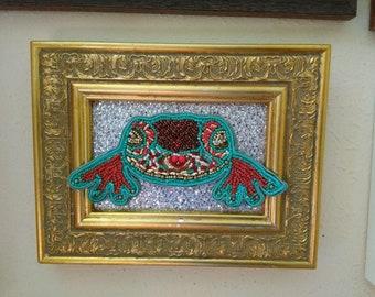 Framed hand beaded turtle