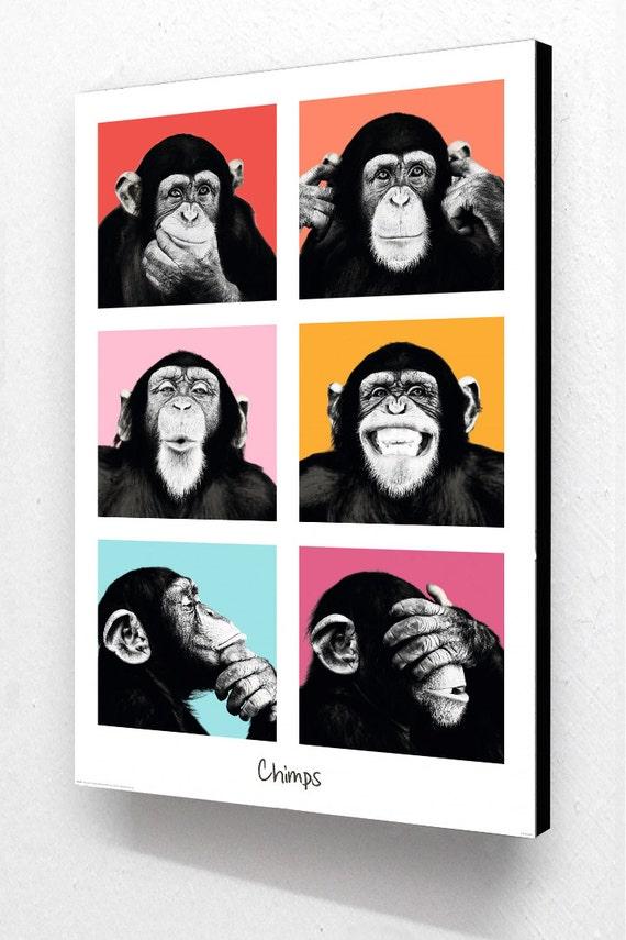 Fotos de chimpancés 6 Vertical cartel de Pop Art