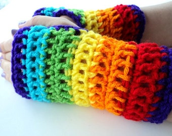 Rainbow Fingerless Gloves, Rainbow Gloves, Fingerless Gloves, Rainbow Mittens, Crochet Mittens, Hand Warmers