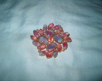 Vintage Costume Jewelry Rhinestone Brooch Pin, Pink & Blue Stones
