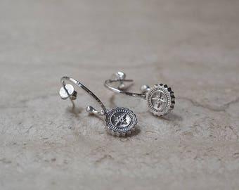 Compass Hoop Earrings in Silver or Gold - Bianca Jones