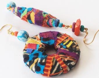 Tribal earrings, tribal rustic, fabric earrings, boho chic jewelry, bohemian earrings, textile earrings, asymmetric earrings, artisan