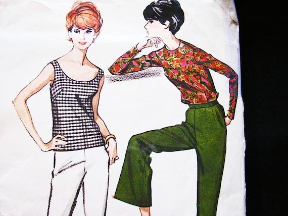 1960er Jahre retro Nähen Muster Frauen Tank-Top Schlaghosen