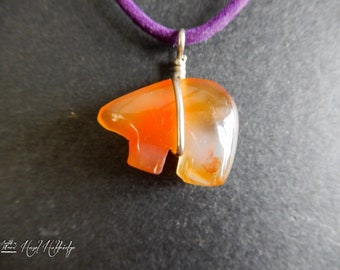 Carnelian Quartz Crystal Bear Pendant w/ Silver Wire Wrap
