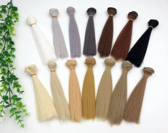 Doll Hair wefts for BJD/SD/Barbie/Monster high/Blythe doll making custom dolls synthetic hair doll wig white grey black yellow blonde brown