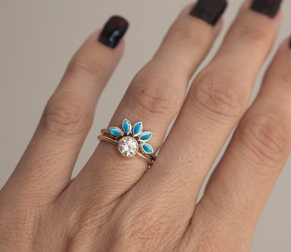 turquoise and diamond engagement ring set turquoise diamond ring turquoise wedding band with solitaire diamond ring turquoise engagement - Turquoise Wedding Rings
