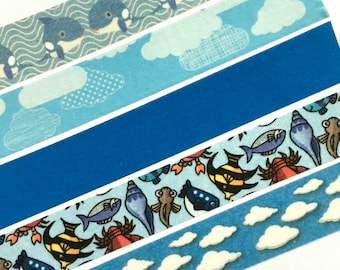 Ocean Washi Tape, Beach Trip Planner, Waves, Water, Sea, Whale, Cloud, Sky, Vacation, Holiday, Blue, Lobster, Sea, Shell, Fish, Sunny Summer