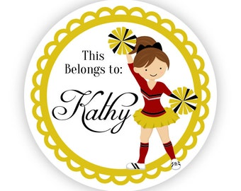 Name Tag Stickers - Cute Red and Gold Girl Cheerleader Personalized Name Label Tag Stickers - 2 inch Round Label Tags - Back to School Name