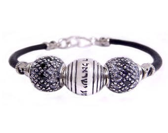 Sterling Silver and Black Leather Shema Israel Bracelet