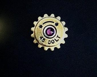 Bullet Lapel Pin Colt 45 Western Tie Tack Groomsmen Gift Brass Shell Ammo Birthstone Jewelry Swarovski Crystal Steampunk Cog Mens Lapel Pin