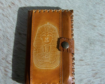 Leather wallet, passport leather, honey, Egyptian, simple and chic decor, for men or women