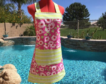 Ready to ship - Sassy Chef Apron, 2 Aprons in One, Both Sides a Different Apron, One Size Fits All, Great For Gifts, Tiddlywinks Deco Rose