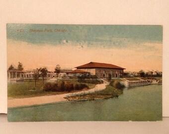ON SALE Chicago Illinois IL -- Sherman Park -- Old Vintage Antique Early 1900's Souvenir Postcard