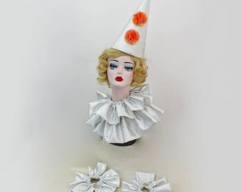 White Circus Costume, Large Classic Clown Hat, Clown Collar and Cuffs, Halloween Costume, Retro Circus,  Vintage Clown Costuming, Burlesque