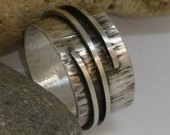 Wide handmade silver ring