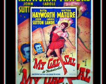 My GAL SAL (1942) Rita Hayworth Very Rare 27x40 Fold US One Sheet Movie Poster Original Vintage Collectible
