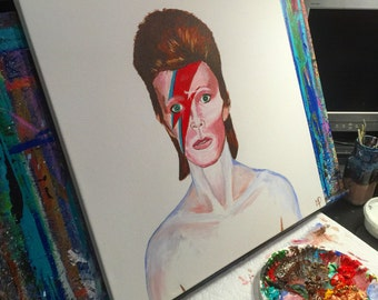 David Bowie - 20 x 20 Acrylic on canvas , ready to hang, by Michael H. Prosper