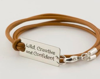 Wild Creative Confident BOHO chic handmade Sterling silver/leather bracelet, choice of charm, encouraging positive jewelry, Mantra bracelet