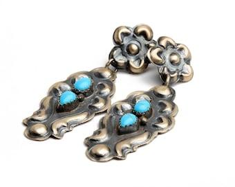 Old Style Navajo Turquoise Earrings, Native Handmade,  Bohemian Beach Wedding