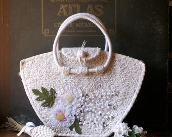 Vintage Tropical White Wedding Purse with Flowers - Great Summer Wedding Handbag!