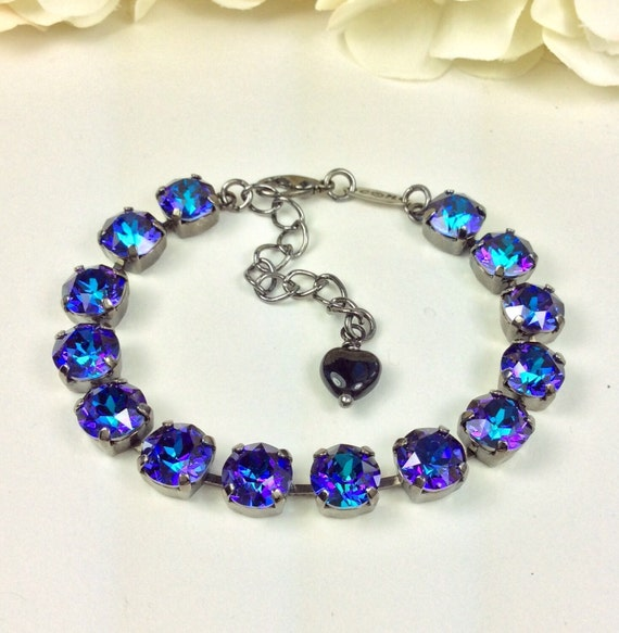 Swarovski Crystal 8.5mm Bracelet & Earrings - Multi- Hued Heliotrope, Royal Purple and  Deep Blue, with Glints of Turquoise - FREE SHIPPING