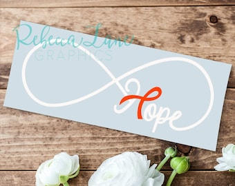 ANY COLOR Hope Awareness Infinity Car Decal for Cancer Disease & Disorder