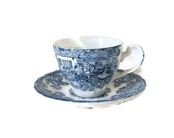 Liberty Blue China - 1970's Vintage Teacups- Paul Revere's Ride-