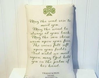 Irish blessing pillow | St. Patrick's Day Pillow | St. Patricks Day decorations | Farmhouse Decor | All Saints Day | Irish decor