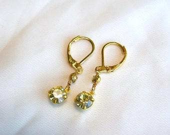 Sunny Light Topaz Yellow Swarovski Crystal Earrings