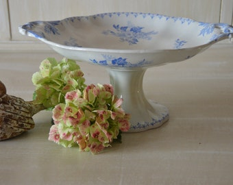 Antique french ironstone blue compote UC Sarreguemines pattern flore 1800's