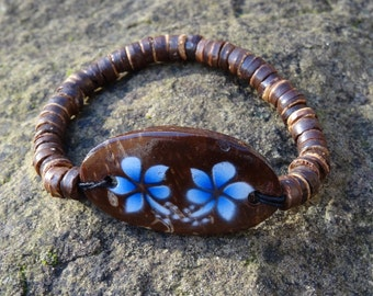 Wooden Coconut Blue Hibiscus Flower Bracelet - Organic Beach Festival Surf Ethnic World Asian Tribal Tribe Alternative Gap Year
