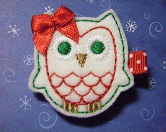 """Owl Christmas Felt Hairbow  Clippie  """"Ovelia"""" - For Infant Toddler Girl"""