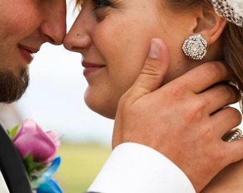 Bridal Rhinestone Earrings, Stud Rose Earrings, Statement Bridal Earrings, wedding  Stud Earrings, Bridal Rhinestone Earrings, ROSIE