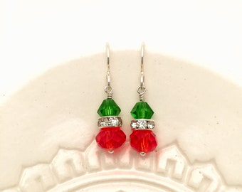 Swarovski Crystal Earrings, Swarovski Crystal, Sterling Silver, Red & Green earrings, drop earring