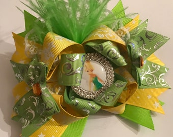 Yellow and green OTT stacked hair bow - big loopy bow - boutique hair bow - large girls hair bow -