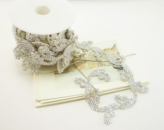 Silver Rhinestone Leaf Trim, Rhinestone Chain, Clear Crystal Trim, Rhinestone Applique, 30mm ( 1 Feet Qty)