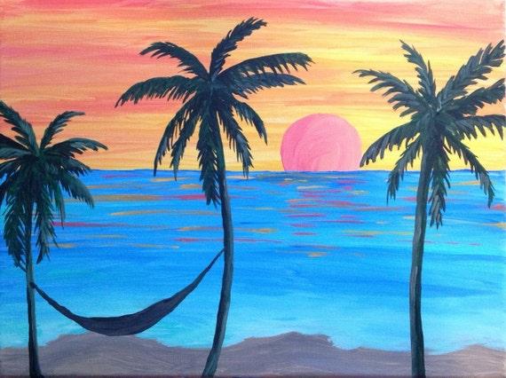 Sunset Palm Trees Hammock Painting Handmade Original Art Beach Blue Orange Calm Relax Zen Vacation Ocean Sea Fishing Tropical Florida Caribe