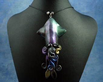 Deep Space Squid Necklace, Polymer Clay Squid Jewelry