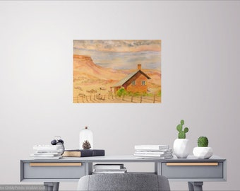 original Southwest sheep ranch landscape watercolor painting, wall decor,home decor, western landscape sheep farm painting, ranch watercolor