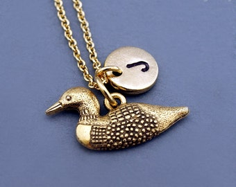 Loon charm Necklace, gold loon charm, divers, loon bird necklace, initial necklace, initial hand stamped, personalized, monogram