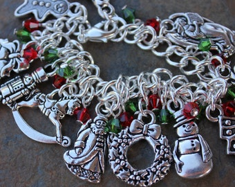 Old fashioned Christmas characters silver charm bracelet, red & green Swarovski crystals, chunky chain - Christmas Joy and Holiday Cheer!