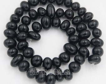 "Natural Black Obsidian beads, Potato Oval Gemstones beads, Spacer Loose Stone Nugget Beads, jewelry supplies For 7.5""  8-11mm"